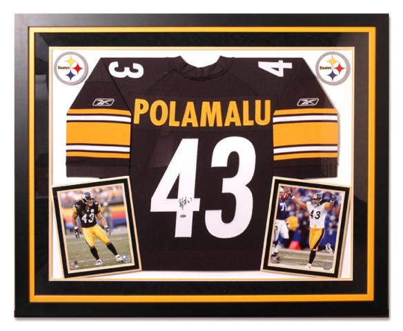 autographed framed authentic troy polamalu jersey