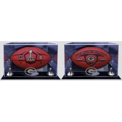 Super Bowl XLV Ball, Packers Super Bowl Champs Ball and Two Display Cases