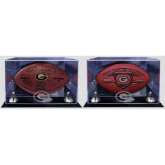 Green Bay Packers Super Bowl XLV and XXXI Two Ball Set with Display Cases