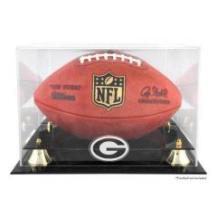 Green Bay Packers Logo Clear Acrylic Football Display Case