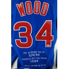 "Kerry Wood Autographed Limited Edition Cubs ""Stats"" Jersey"