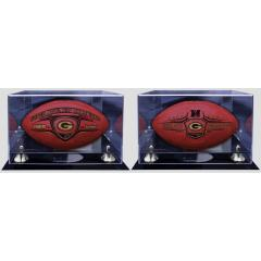 Deluxe Set - NFC Champs Ball, Super Bowl XLV Champs Ball and TWO Display Cases