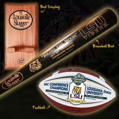 LSU Tigers 2011 SEC Champs Deluxe Bat & Ball Combo with FREE Bat Rack