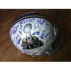 NY Giants Team Signed Super Bowl XLVI Logo Helmet