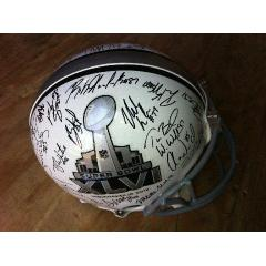 Patriots Team Signed Super Bowl XLVI Logo Helmet