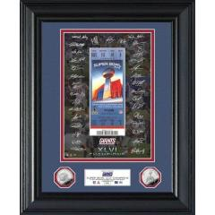 NY Giants Super Bowl XLVI Champions Framed Coins & Signed Replica Ticket Collectible
