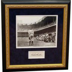 Babe Ruth Framed Retirement Photo with Cut Signature