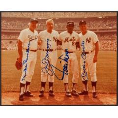 Snider, DiMaggio, Mays and Mantle Signed Photograph