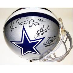 Authentic Cowboys Helmet - Aikman, Smith & Irvin Signed