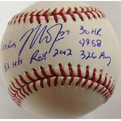 Mike Trout Signed Multi-Stat Baseball