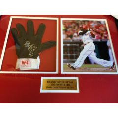 Brandon Phillips Game Used Batting Glove Framed Presentation