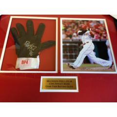 Brandon Phillips Game Used Batting Glove Framed Presentation