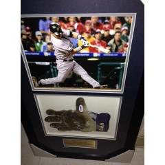 Nick Swisher Game Used Batting Glove Framed Presentation