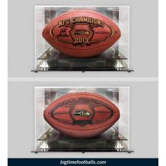 SB XLVIII Champs Ball, NFC Champs Ball and Two Acrylic Display Cases