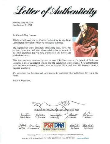 Dalai Lama Signed Photo Framed and Matted - BigTimeFootballs.com