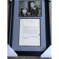 Rare FDR Photo & Signed Lettter Framed Presentation