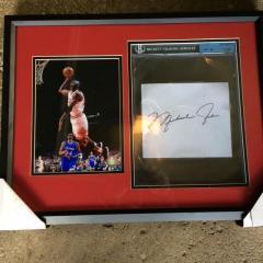 Michael Jordan Framed Photo & Cut Signature Presentation