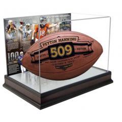 Peyton Manning TD Passing Record Commemorative Football & Display Case Set