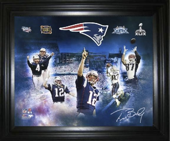 b03236ea4f6 Tom Brady Autographed 4 Time Super Bowl Champion Framed Canvas ...