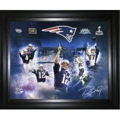 Tom Brady Autographed 4 Time Super Bowl Champion Framed Canvas