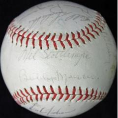 '74 Yankees Ball with 21 Signatures featuring Thurman Munson