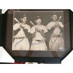 Autographed Photo Mantle, DiMaggio and Williams