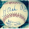 Hank Aaron and Al Downing Dual Signed Baseball