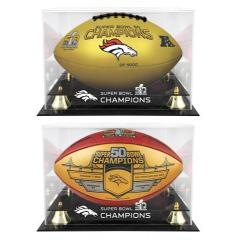 Broncos Super Bowl 50 Custom 2 Gold Ball Set with Display Cases