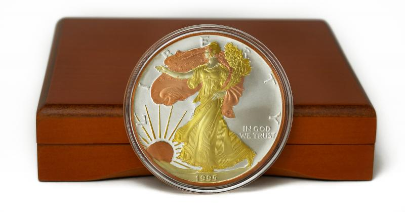 1995 American Eagle Silver Coin With Tri Gold