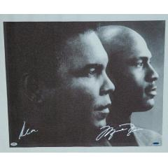Muhammad Ali and Michael Jordan Autographed Canvas Print