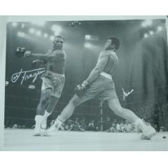 Ali and Frazier Action Shot Signed by Both Fighters