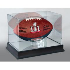 Patriots Super Bowl LI Champions Commemorative BLUE GAME Ball and Display Case