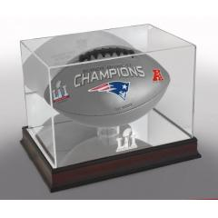 Patriots Super Bowl LI Champions Football and Display Case