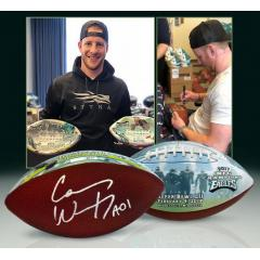 Carson Wentz Autographed Super Bowl LII Art Ball