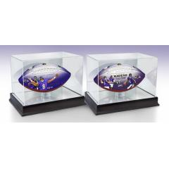Lamar Jackson QB Rushing Record & Ravens NFL 100th Legacy Art Football Set With Display Cases
