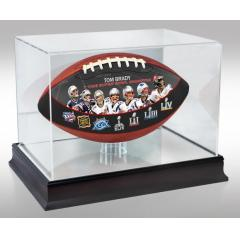 Tom Brady Seven Time Super Bowl Champion Art Football & Display Case